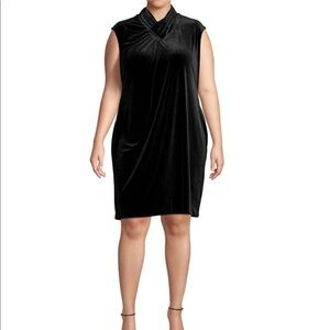 Calvin Klein Cowl Neck Velvet Shift Dress NWT